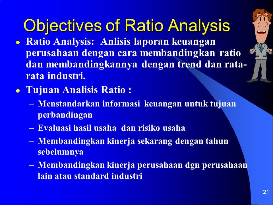 21 Objectives of Ratio Analysis l Ratio Analysis: Anlisis laporan keuangan perusahaan dengan cara membandingkan ratio dan membandingkannya dengan tren