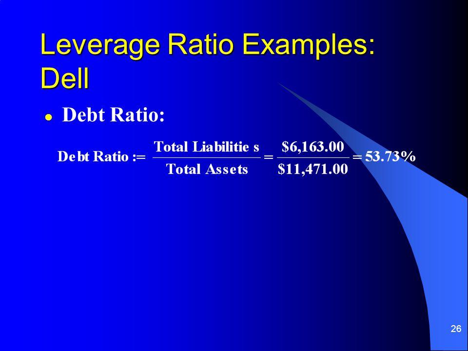 26 l Debt Ratio: Leverage Ratio Examples: Dell