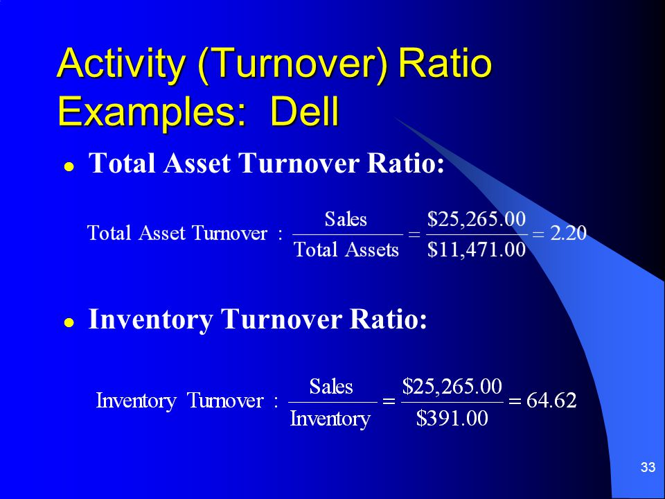 33 l Total Asset Turnover Ratio: l Inventory Turnover Ratio: Activity (Turnover) Ratio Examples: Dell