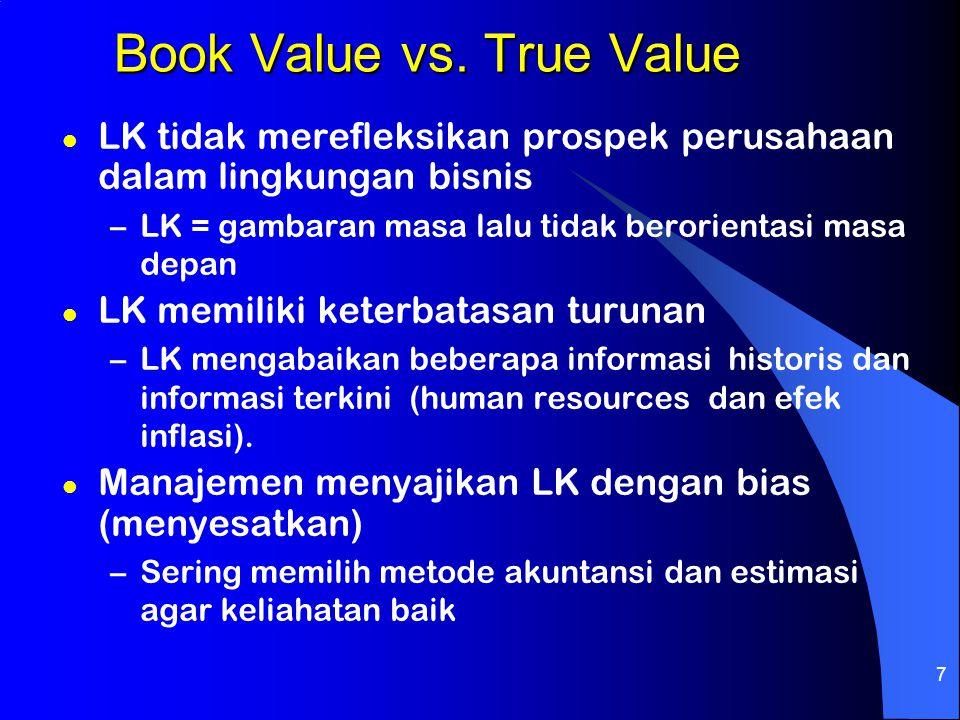 7 Book Value vs. True Value l LK tidak merefleksikan prospek perusahaan dalam lingkungan bisnis –LK = gambaran masa lalu tidak berorientasi masa depan