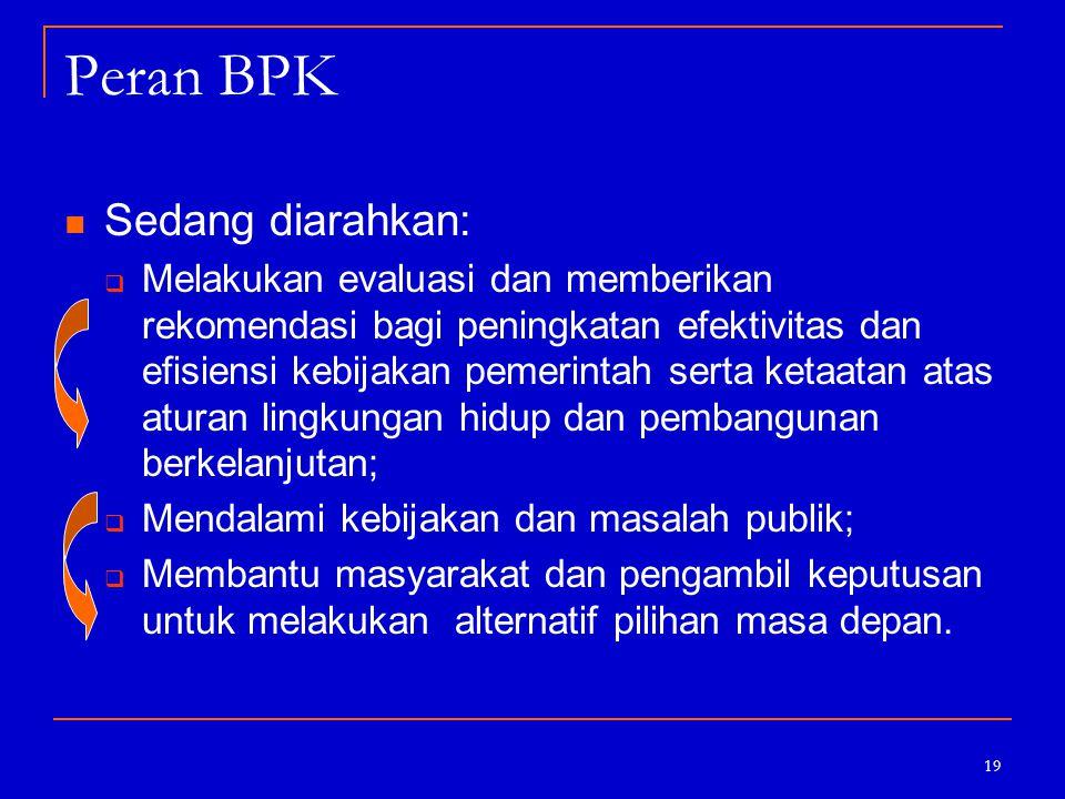 19 Peran BPK Sedang diarahkan:  Melakukan evaluasi dan memberikan rekomendasi bagi peningkatan efektivitas dan efisiensi kebijakan pemerintah serta k