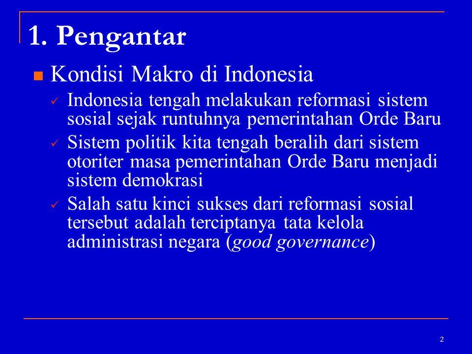 2 1. Pengantar Kondisi Makro di Indonesia Indonesia tengah melakukan reformasi sistem sosial sejak runtuhnya pemerintahan Orde Baru Sistem politik kit