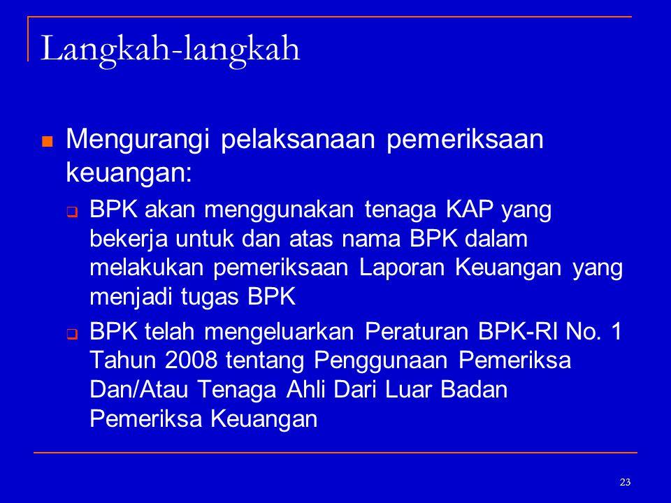 23 Langkah-langkah Mengurangi pelaksanaan pemeriksaan keuangan:  BPK akan menggunakan tenaga KAP yang bekerja untuk dan atas nama BPK dalam melakukan