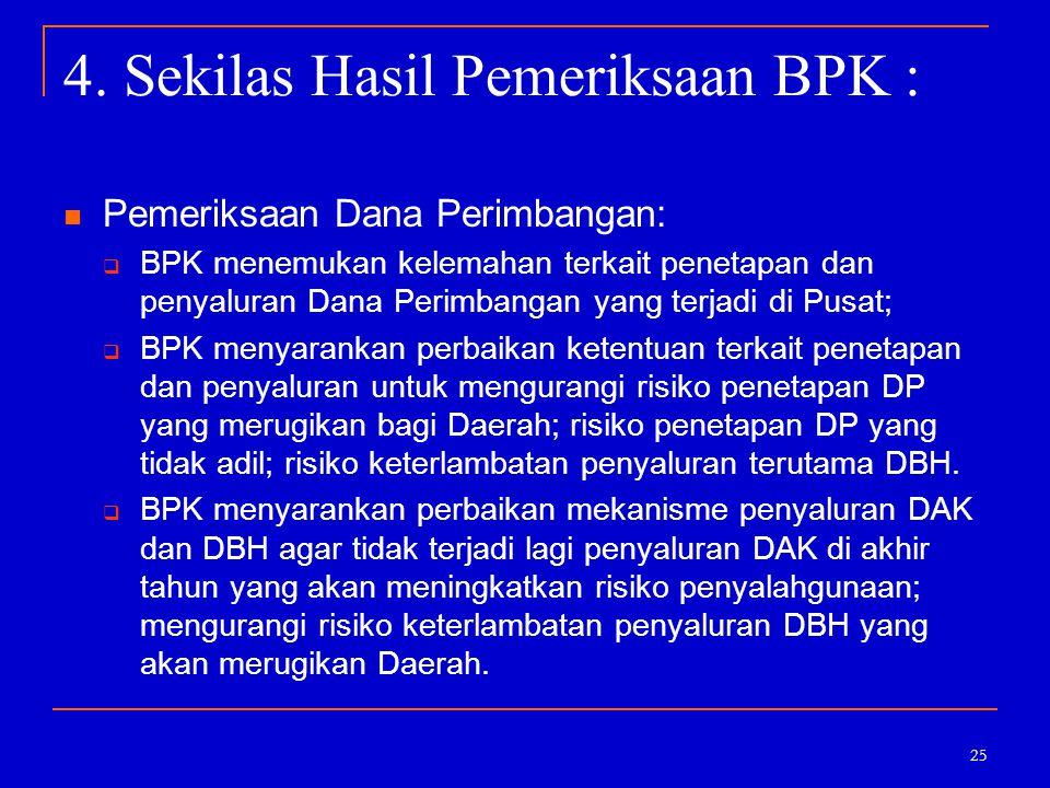 25 4. Sekilas Hasil Pemeriksaan BPK : Pemeriksaan Dana Perimbangan:  BPK menemukan kelemahan terkait penetapan dan penyaluran Dana Perimbangan yang t
