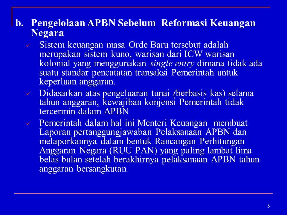 5 b.Pengelolaan APBN Sebelum Reformasi Keuangan Negara Sistem keuangan masa Orde Baru tersebut adalah merupakan sistem kuno, warisan dari ICW warisan