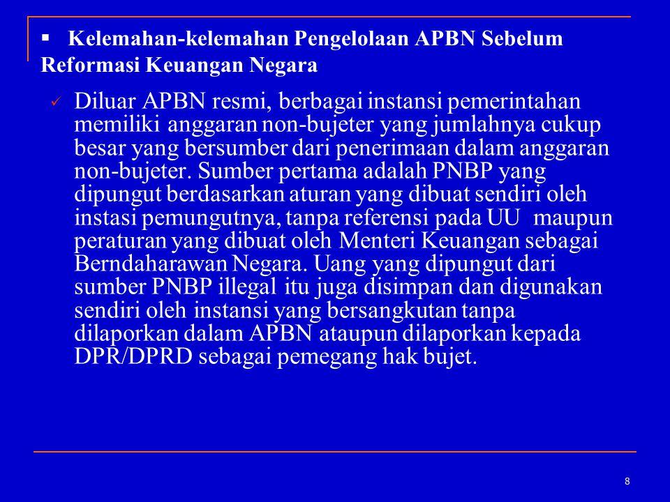 8  Kelemahan-kelemahan Pengelolaan APBN Sebelum Reformasi Keuangan Negara Diluar APBN resmi, berbagai instansi pemerintahan memiliki anggaran non-buj