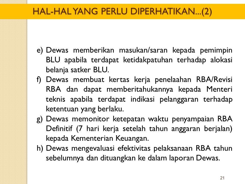 21 e)Dewas memberikan masukan/saran kepada pemimpin BLU apabila terdapat ketidakpatuhan terhadap alokasi belanja satker BLU. f)Dewas membuat kertas ke