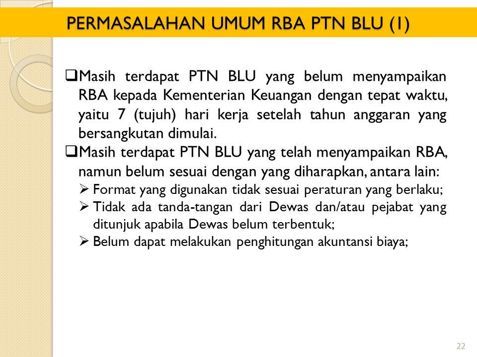 PERMASALAHAN UMUM RBA PTN BLU (1)  Masih terdapat PTN BLU yang belum menyampaikan RBA kepada Kementerian Keuangan dengan tepat waktu, yaitu 7 (tujuh)