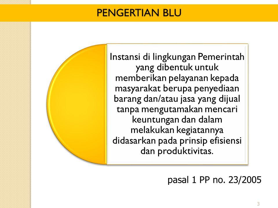 3 pasal 1 PP no. 23/2005 PENGERTIAN BLU Instansi di lingkungan Pemerintah yang dibentuk untuk memberikan pelayanan kepada masyarakat berupa penyediaan
