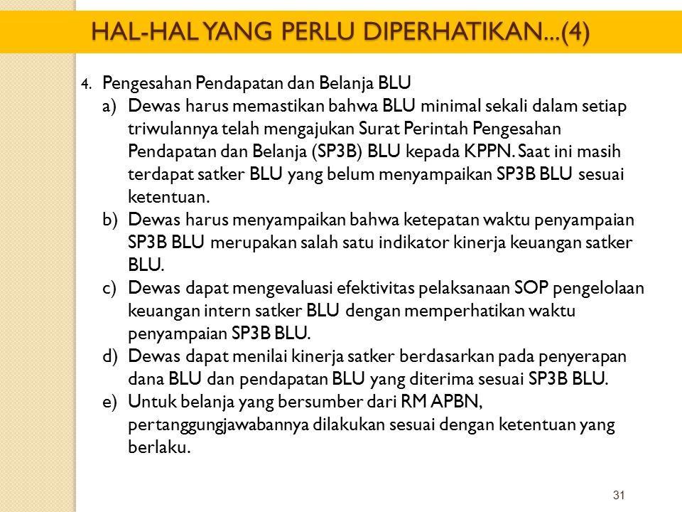 31 4. Pengesahan Pendapatan dan Belanja BLU a)Dewas harus memastikan bahwa BLU minimal sekali dalam setiap triwulannya telah mengajukan Surat Perintah