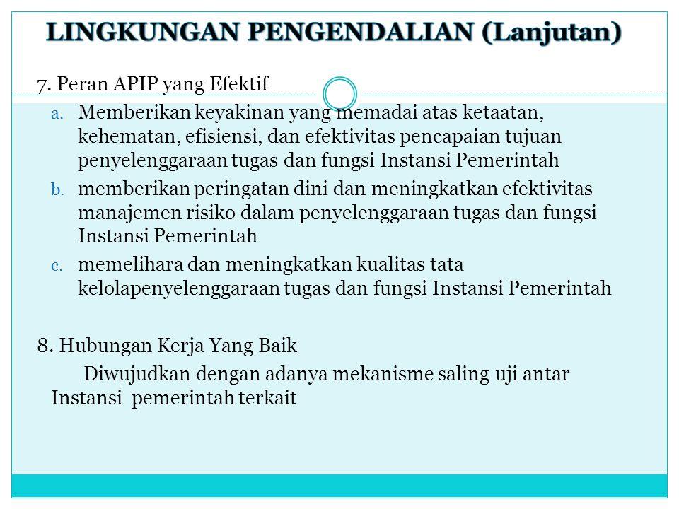 7. Peran APIP yang Efektif a. Memberikan keyakinan yang memadai atas ketaatan, kehematan, efisiensi, dan efektivitas pencapaian tujuan penyelenggaraan