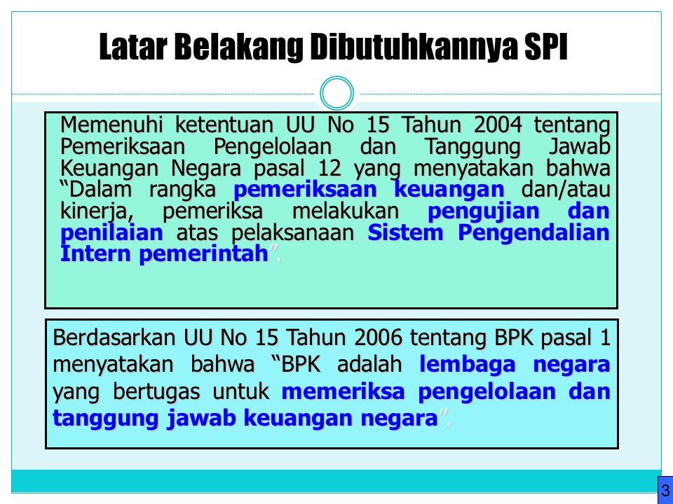 Latar Belakang Dibutuhkannya SPI Memenuhi ketentuan UU No 15 Tahun 2004 tentang Pemeriksaan Pengelolaan dan Tanggung Jawab Keuangan Negara pasal 12 ya