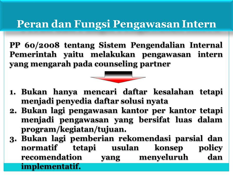 Peran dan Fungsi Pengawasan Intern PP 60/2008 tentang Sistem Pengendalian Internal Pemerintah yaitu melakukan pengawasan intern yang mengarah pada cou