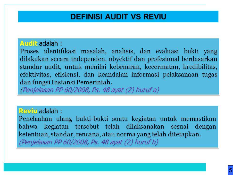 Audit adalah : Proses identifikasi masalah, analisis, dan evaluasi bukti yang dilakukan secara independen, obyektif dan profesional berdasarkan standa