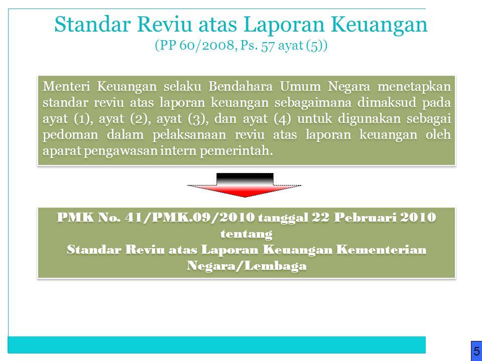Menteri Keuangan selaku Bendahara Umum Negara menetapkan standar reviu atas laporan keuangan sebagaimana dimaksud pada ayat (1), ayat (2), ayat (3), d