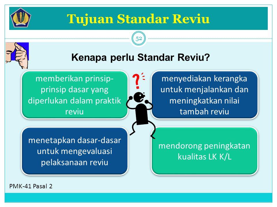 Tujuan Standar Reviu memberikan prinsip- prinsip dasar yang diperlukan dalam praktik reviu menyediakan kerangka untuk menjalankan dan meningkatkan nil