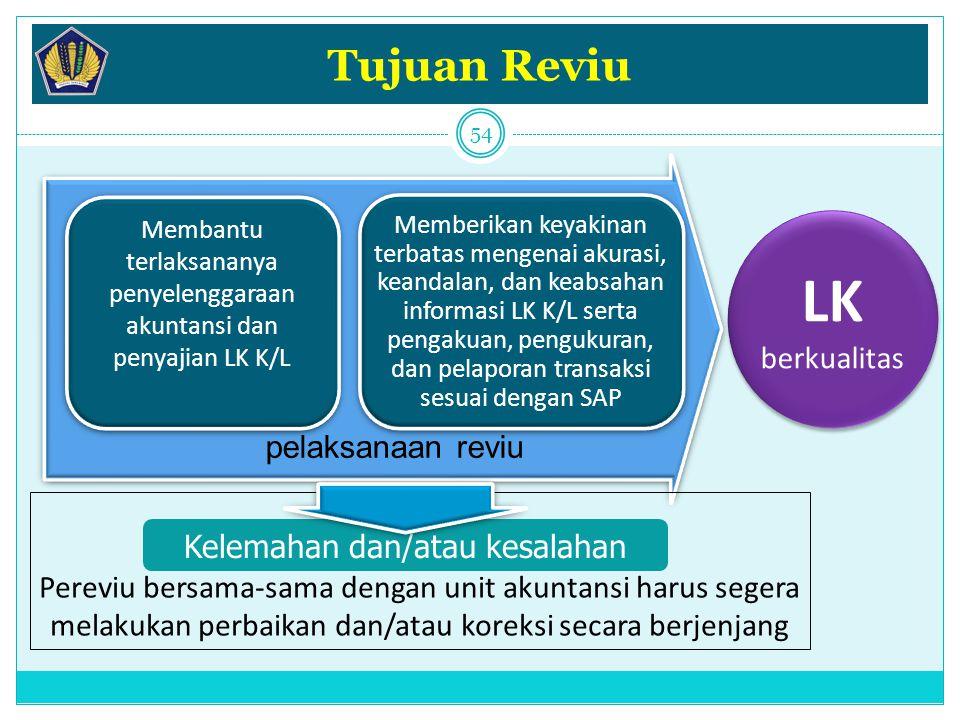 pelaksanaan reviu Tujuan Reviu Membantu terlaksananya penyelenggaraan akuntansi dan penyajian LK K/L Memberikan keyakinan terbatas mengenai akurasi, k