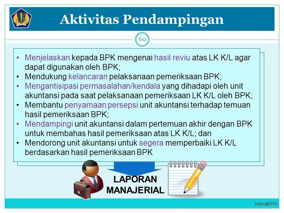 Aktivitas Pendampingan Menjelaskan kepada BPK mengenai hasil reviu atas LK K/L agar dapat digunakan oleh BPK; Mendukung kelancaran pelaksanaan pemerik