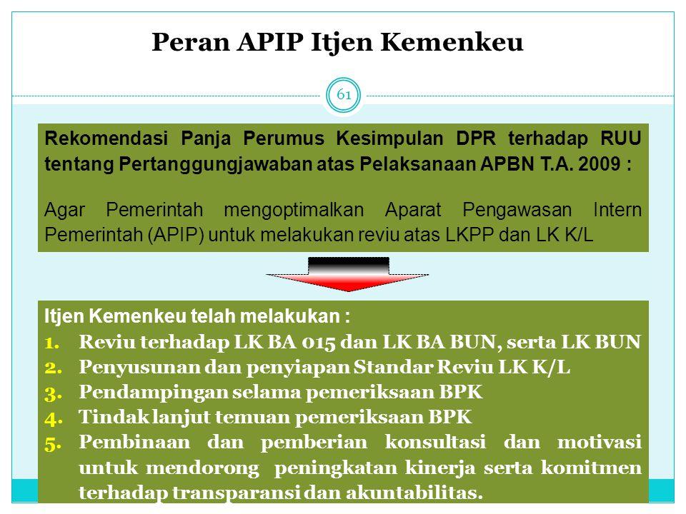 Peran APIP Itjen Kemenkeu 61 Rekomendasi Panja Perumus Kesimpulan DPR terhadap RUU tentang Pertanggungjawaban atas Pelaksanaan APBN T.A. 2009 : Agar P