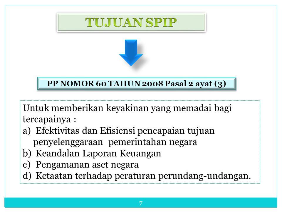 7 Untuk memberikan keyakinan yang memadai bagi tercapainya : a) Efektivitas dan Efisiensi pencapaian tujuan penyelenggaraan pemerintahan negara b) Kea