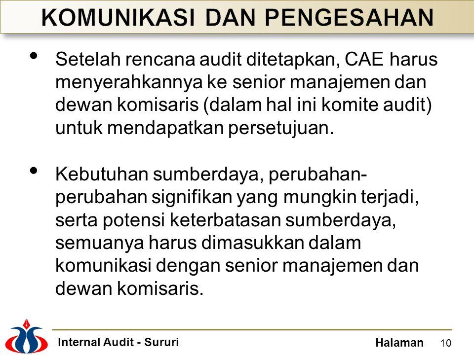 Internal Audit - Sururi Halaman Setelah rencana audit ditetapkan, CAE harus menyerahkannya ke senior manajemen dan dewan komisaris (dalam hal ini komi