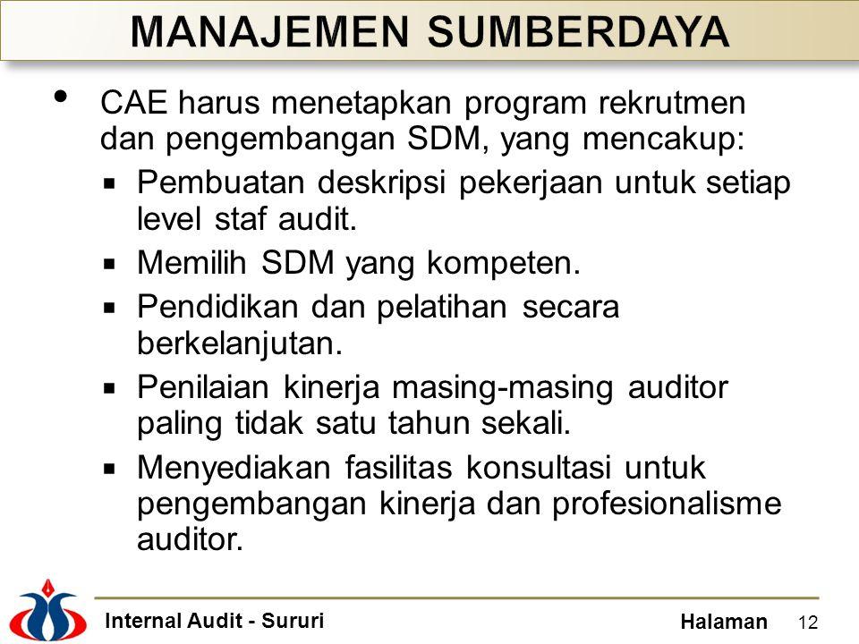 Internal Audit - Sururi Halaman CAE harus menetapkan program rekrutmen dan pengembangan SDM, yang mencakup:  Pembuatan deskripsi pekerjaan untuk seti