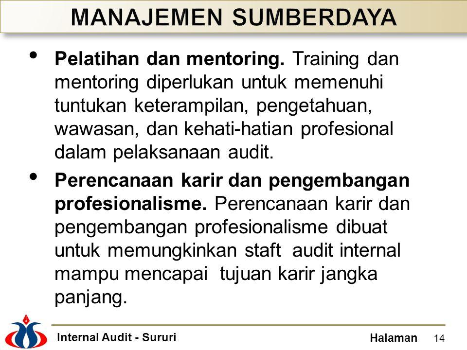 Internal Audit - Sururi Halaman Pelatihan dan mentoring. Training dan mentoring diperlukan untuk memenuhi tuntukan keterampilan, pengetahuan, wawasan,