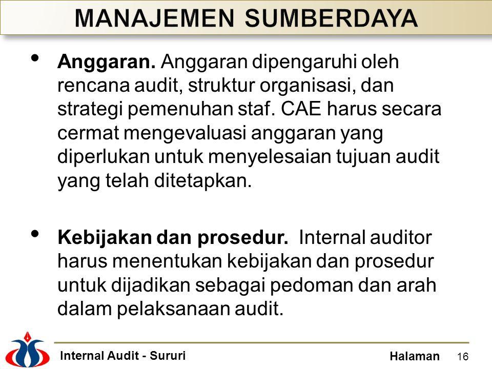 Internal Audit - Sururi Halaman Anggaran. Anggaran dipengaruhi oleh rencana audit, struktur organisasi, dan strategi pemenuhan staf. CAE harus secara