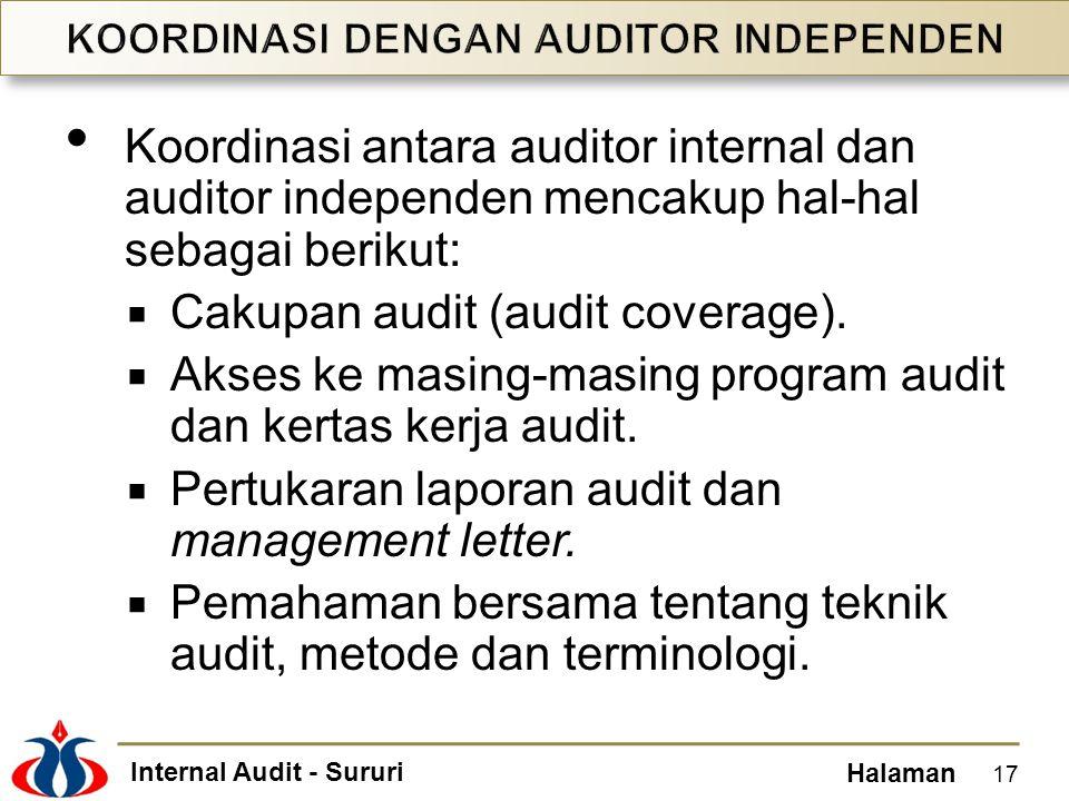 Internal Audit - Sururi Halaman Koordinasi antara auditor internal dan auditor independen mencakup hal-hal sebagai berikut:  Cakupan audit (audit cov