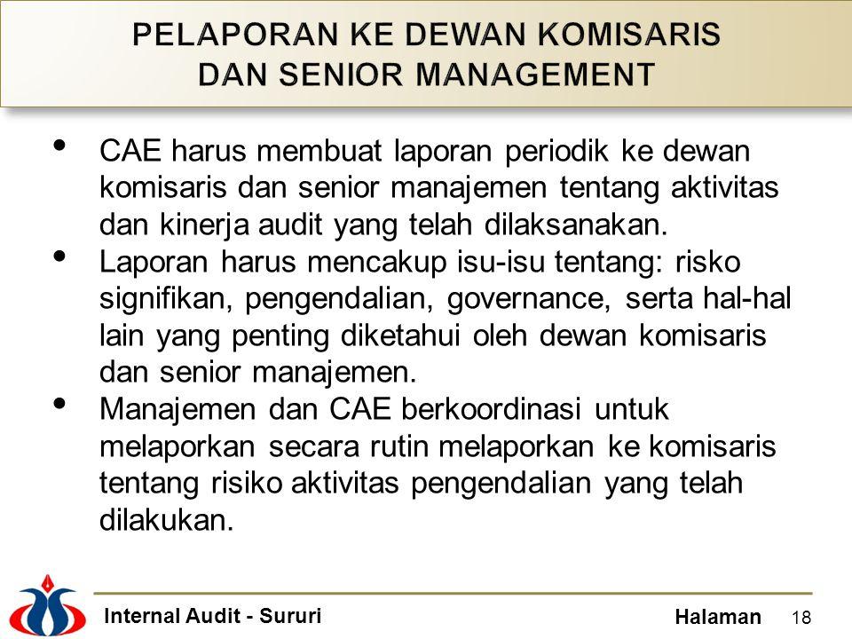 Internal Audit - Sururi Halaman CAE harus membuat laporan periodik ke dewan komisaris dan senior manajemen tentang aktivitas dan kinerja audit yang te