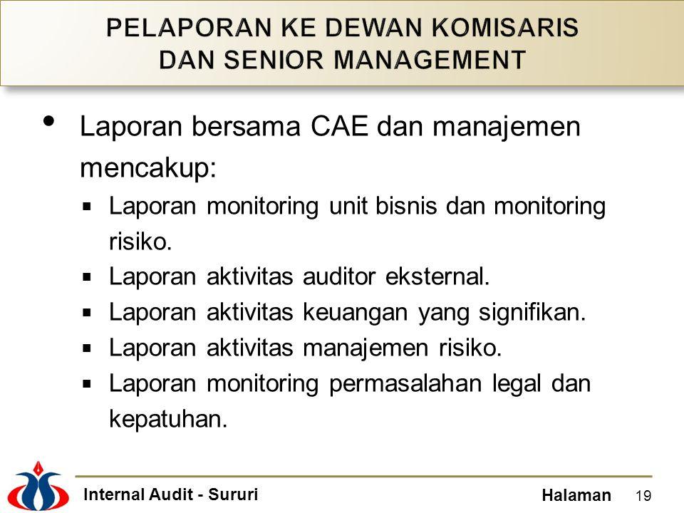 Internal Audit - Sururi Halaman Laporan bersama CAE dan manajemen mencakup:  Laporan monitoring unit bisnis dan monitoring risiko.  Laporan aktivita