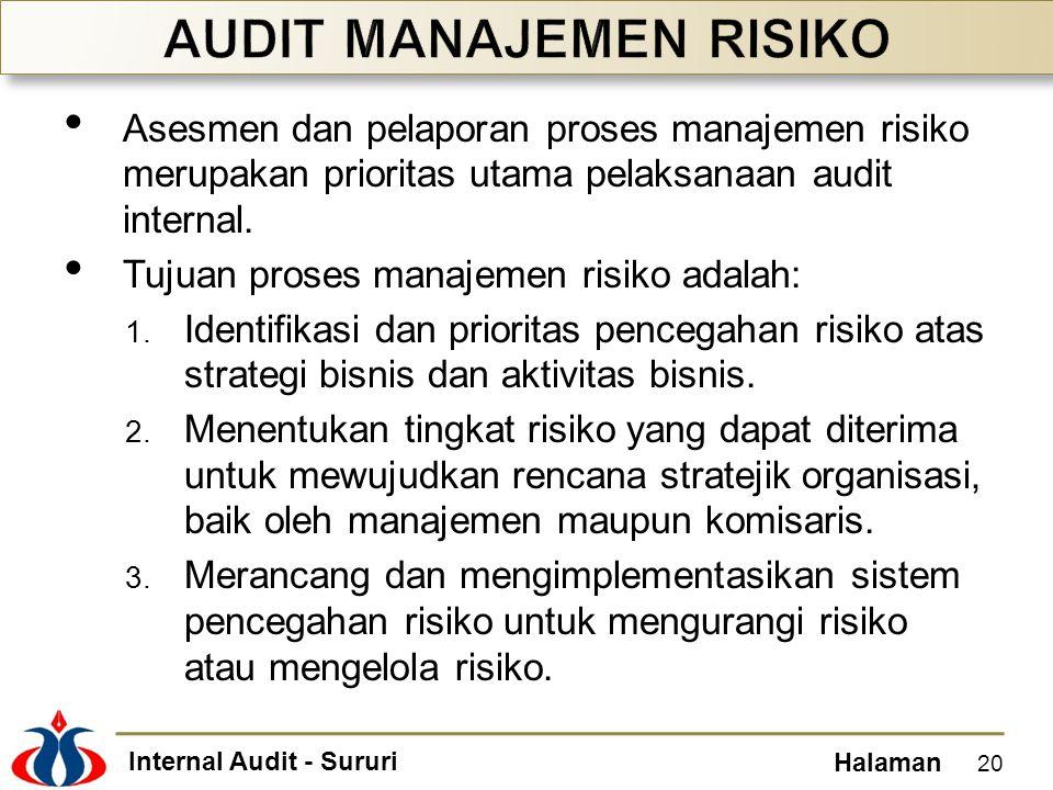 Internal Audit - Sururi Halaman Asesmen dan pelaporan proses manajemen risiko merupakan prioritas utama pelaksanaan audit internal. Tujuan proses mana