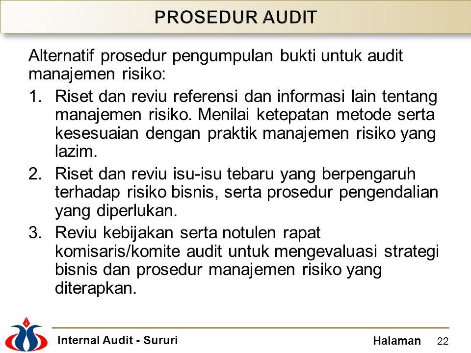 Internal Audit - Sururi Halaman Alternatif prosedur pengumpulan bukti untuk audit manajemen risiko: 1.Riset dan reviu referensi dan informasi lain ten