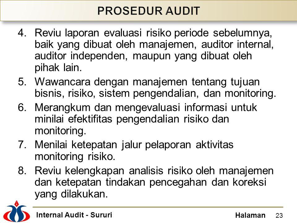 Internal Audit - Sururi Halaman 4.Reviu laporan evaluasi risiko periode sebelumnya, baik yang dibuat oleh manajemen, auditor internal, auditor indepen