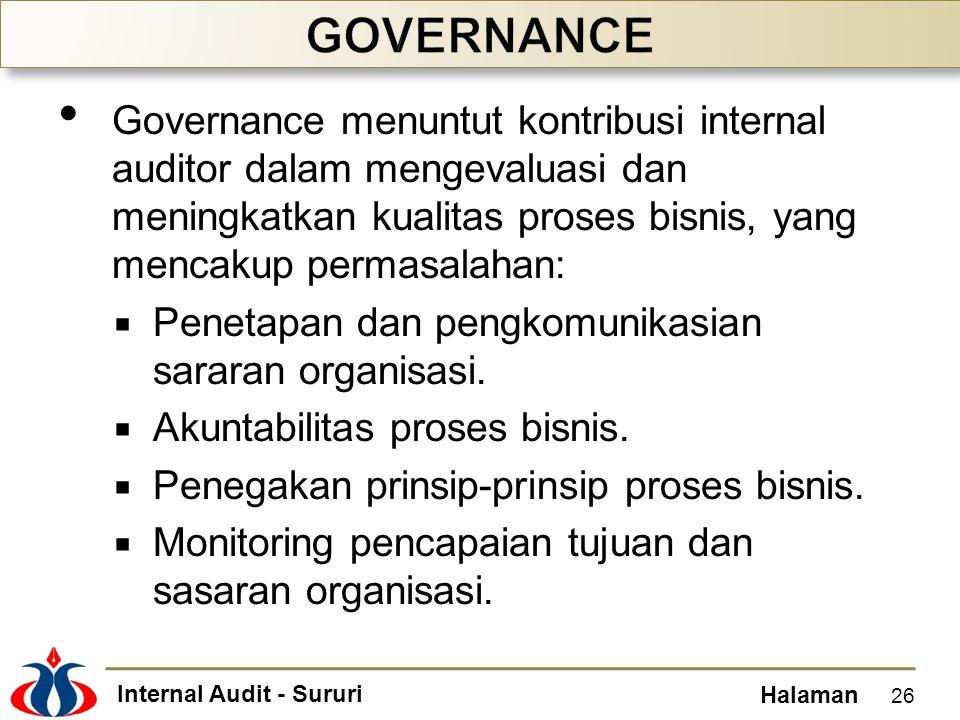 Internal Audit - Sururi Halaman Governance menuntut kontribusi internal auditor dalam mengevaluasi dan meningkatkan kualitas proses bisnis, yang menca