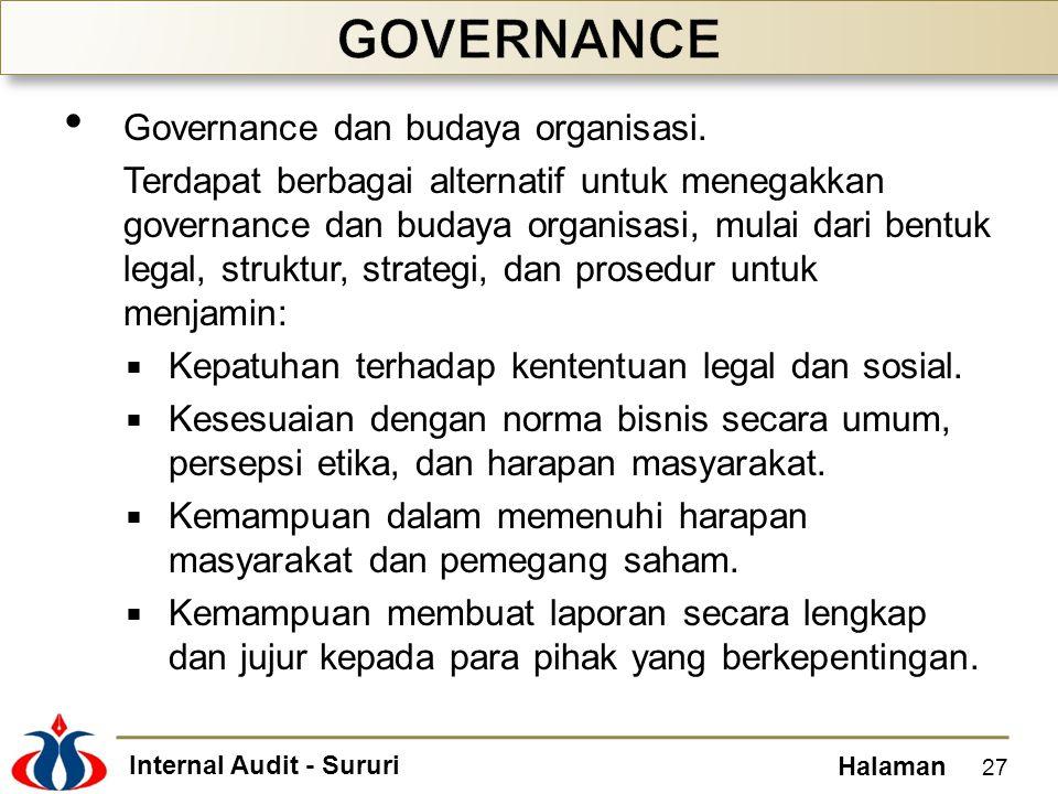 Internal Audit - Sururi Halaman Governance dan budaya organisasi. Terdapat berbagai alternatif untuk menegakkan governance dan budaya organisasi, mula