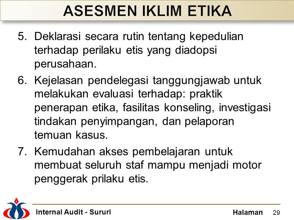 Internal Audit - Sururi Halaman 5.Deklarasi secara rutin tentang kepedulian terhadap perilaku etis yang diadopsi perusahaan. 6.Kejelasan pendelegasi t