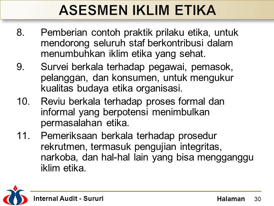 Internal Audit - Sururi Halaman 8.Pemberian contoh praktik prilaku etika, untuk mendorong seluruh staf berkontribusi dalam menumbuhkan iklim etika yan