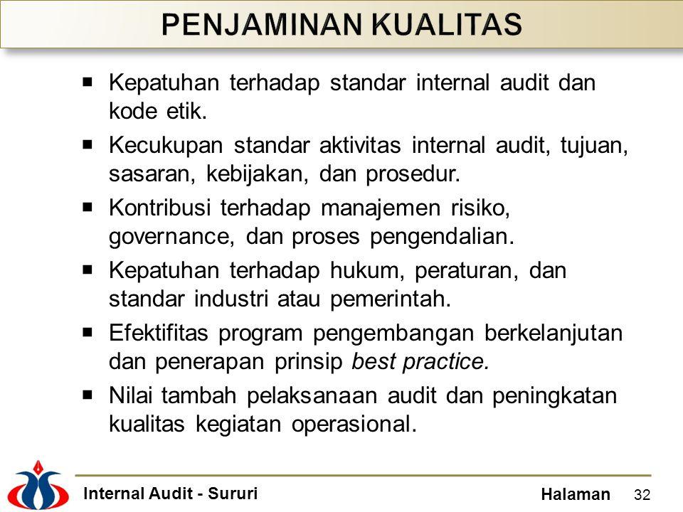 Internal Audit - Sururi Halaman  Kepatuhan terhadap standar internal audit dan kode etik.  Kecukupan standar aktivitas internal audit, tujuan, sasar