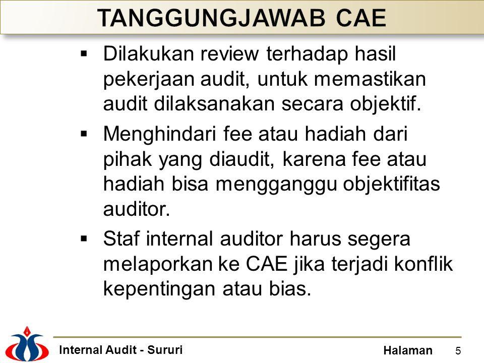 Internal Audit - Sururi Halaman  Dilakukan review terhadap hasil pekerjaan audit, untuk memastikan audit dilaksanakan secara objektif.  Menghindari