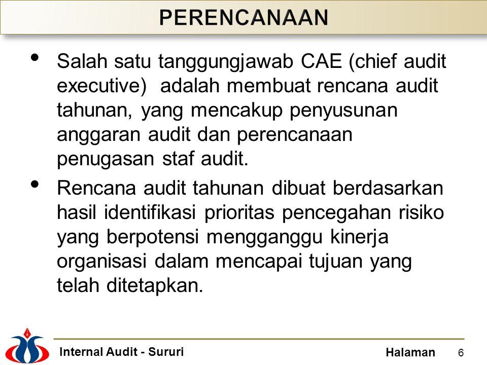 Internal Audit - Sururi Halaman Salah satu tanggungjawab CAE (chief audit executive) adalah membuat rencana audit tahunan, yang mencakup penyusunan an