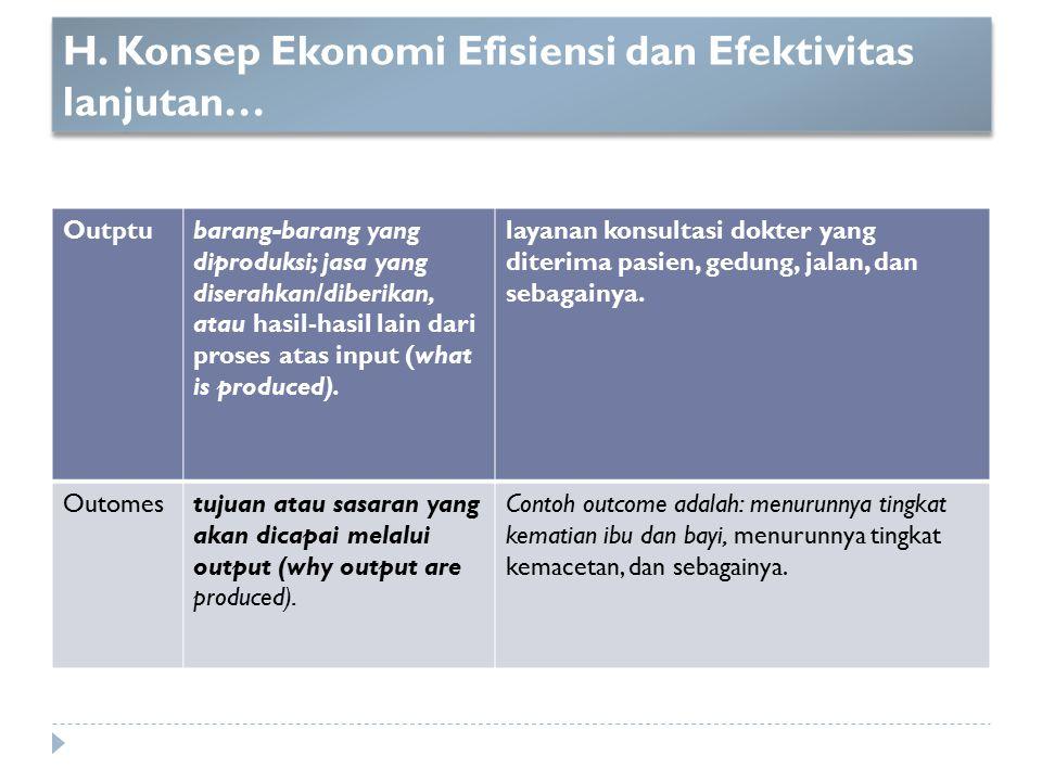 H. Konsep Ekonomi Efisiensi dan Efektivitas lanjutan… Outptubarang-barang yang diproduksi; jasa yang diserahkan/diberikan, atau hasil-hasil lain dari