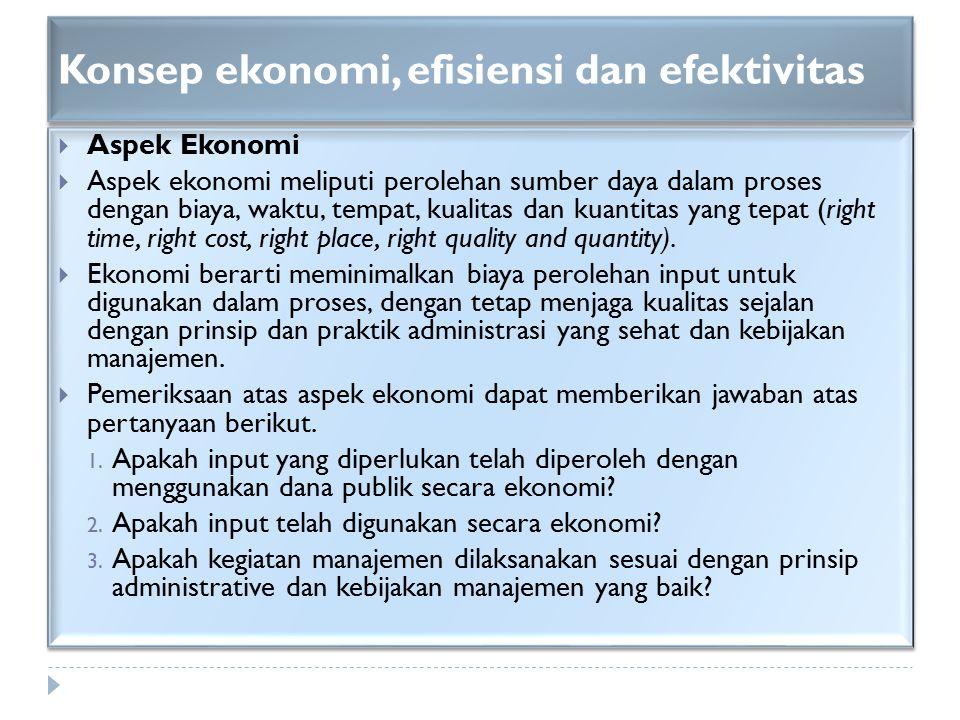 Konsep ekonomi, efisiensi dan efektivitas  Aspek Ekonomi  Aspek ekonomi meliputi perolehan sumber daya dalam proses dengan biaya, waktu, tempat, kua