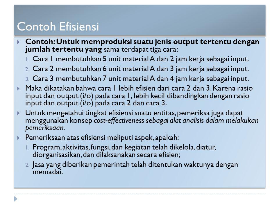 Contoh Efisiensi  Contoh: Untuk memproduksi suatu jenis output tertentu dengan jumlah tertentu yang sama terdapat tiga cara: 1. Cara 1 membutuhkan 5