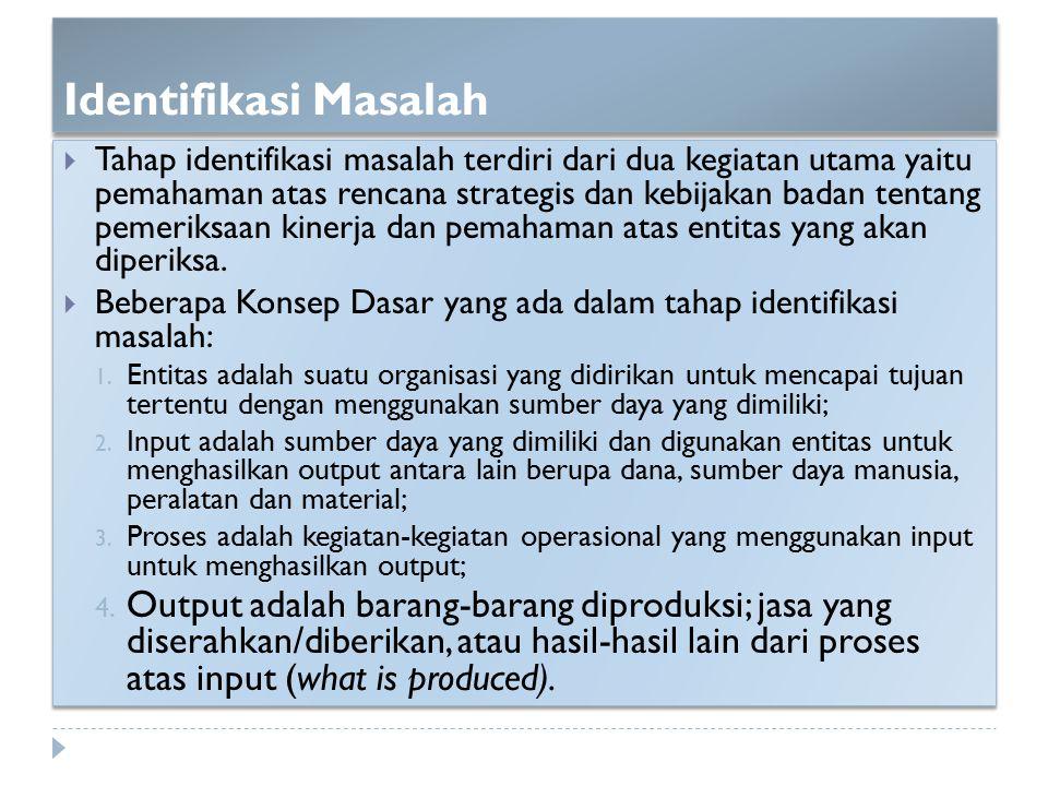 Identifikasi Masalah  Tahap identifikasi masalah terdiri dari dua kegiatan utama yaitu pemahaman atas rencana strategis dan kebijakan badan tentang p