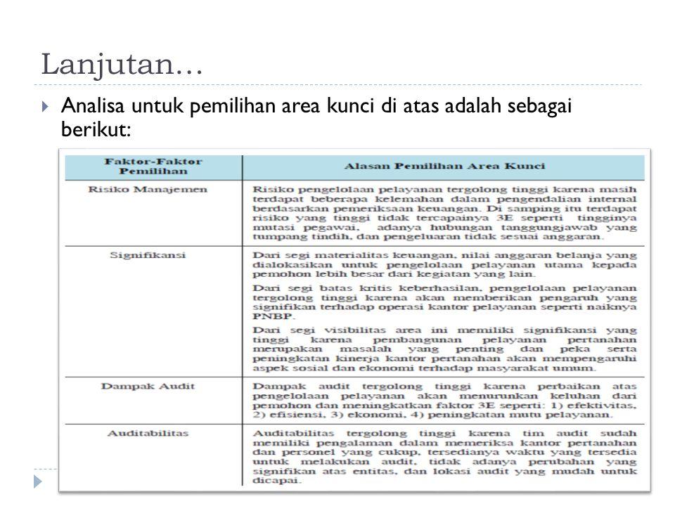 Lanjutan…  Analisa untuk pemilihan area kunci di atas adalah sebagai berikut: