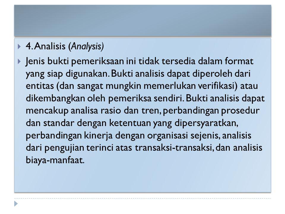  4. Analisis (Analysis)  Jenis bukti pemeriksaan ini tidak tersedia dalam format yang siap digunakan. Bukti analisis dapat diperoleh dari entitas (d