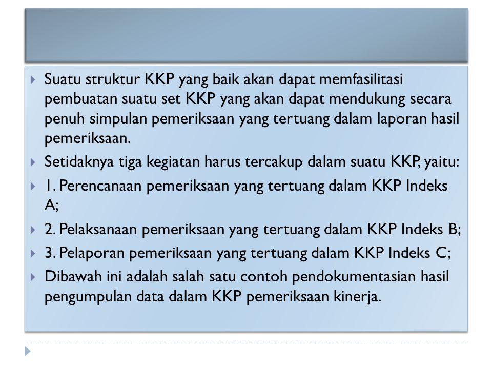  Suatu struktur KKP yang baik akan dapat memfasilitasi pembuatan suatu set KKP yang akan dapat mendukung secara penuh simpulan pemeriksaan yang tertu