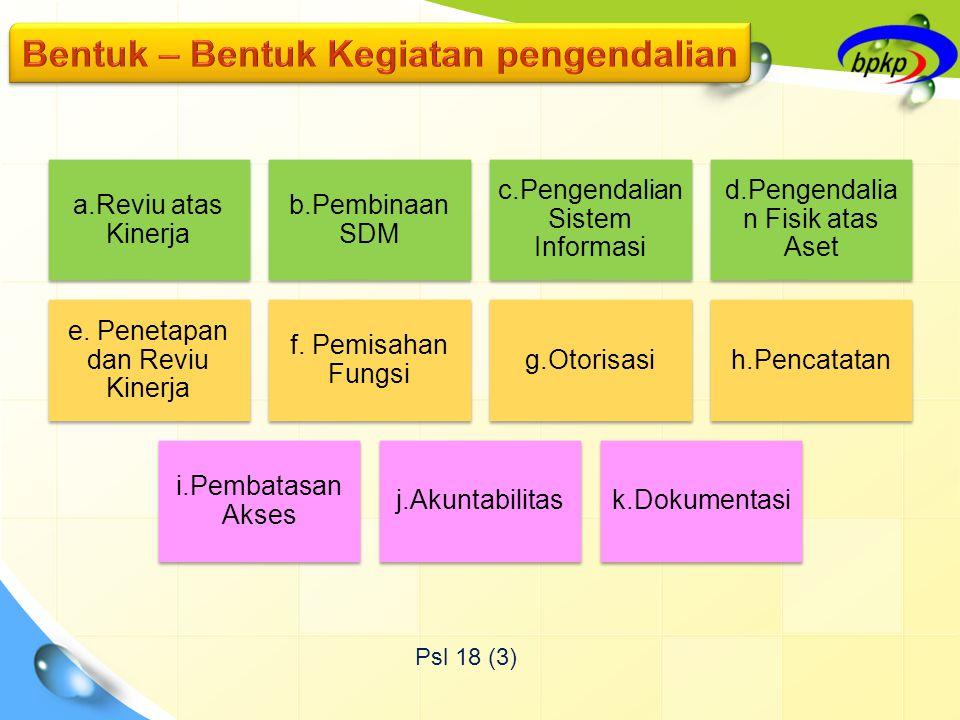 Psl 18 (3) a.Reviu atas Kinerja b.Pembinaan SDM c.Pengendalian Sistem Informasi d.Pengendalia n Fisik atas Aset e.
