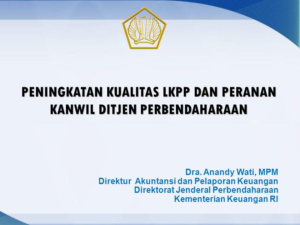 Dra. Anandy Wati, MPM Direktur Akuntansi dan Pelaporan Keuangan Direktorat Jenderal Perbendaharaan Kementerian Keuangan RI PENINGKATAN KUALITAS LKPP D
